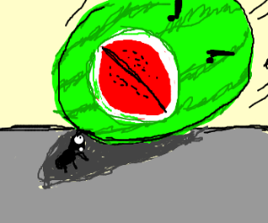 Mutant Watermelon Squishes An Ant!