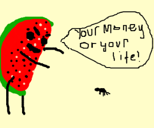 Watermelon lord threatens tiny ant