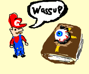 Mario meets one eyed holy book