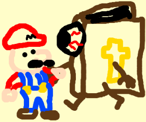 Bible with eyeball is greeted by Mario