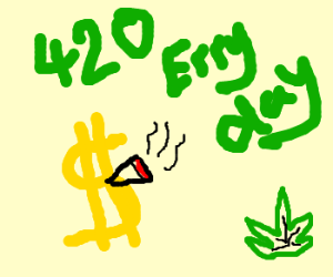 Gold picture of a money smokin weed