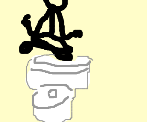 Levitating above toilet while using it