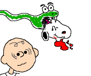 Snakes eat Snoopy's decapitated head