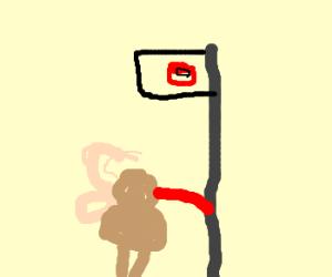 Lickatongue stuck to frosen pole