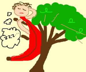 Man Dressed as Red Banana Naps by Tree