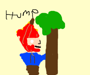 Red banan-man humps tree