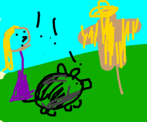 woman and black pig alarmed by scarecrow