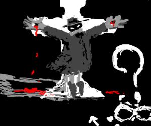 Masked man sees Z's w/crucifix