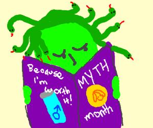 Medusa Reads A Purple Magazine