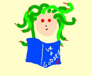 Medusa reads mythical lady magazines