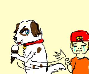 Dog steals ice cream from kids