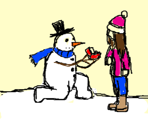 snowman proposes to girl