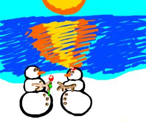 Snowman gives snowwoman his love
