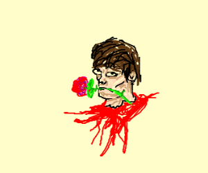 Decapitated Head With Rose In Mouth