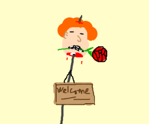 Decapitated head w/rose in mouth