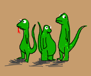 3 green lizards