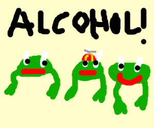 3 underage frogs oogling some booze