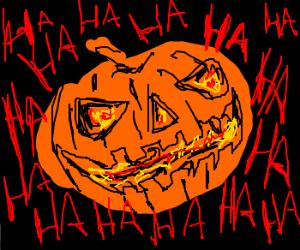 Jack-o'-lantern laughs evilly