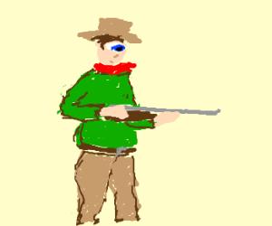 Cowboy Cyclops with a gun