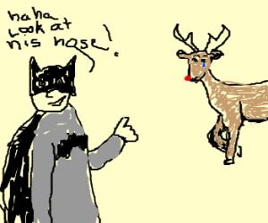 batman teases reindeer