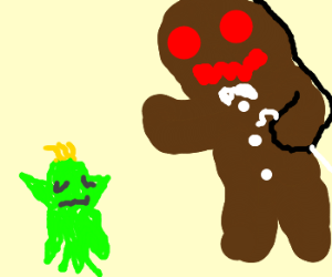 Angry Gingerbread Man Attacks Cookie Elf