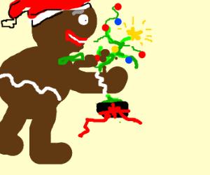 gingerbread monster hugs tiny deformed xmas tree