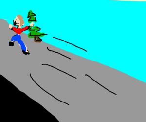 Adam steals christmas tree(he's fast!)