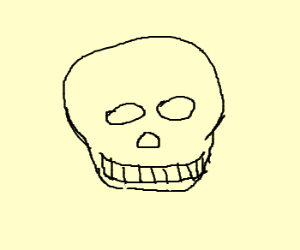 Draw a skull using as few lines as possi