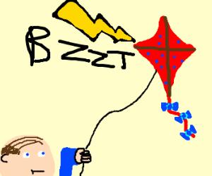 Balding man's kite is struck by lighting