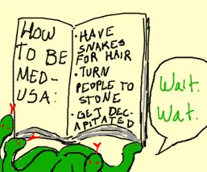 Medusa reads a How to Be Medusa manual.