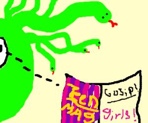 Medusa reads girly magazines
