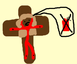 Jesus in red banns red paint