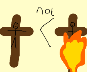 Crucifixion is not improved with fire