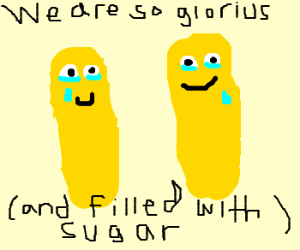 Glorius sugar Filled Twinkies crying in happines
