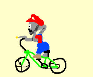 ET dressed as Mario, riding a bike & phoning home.