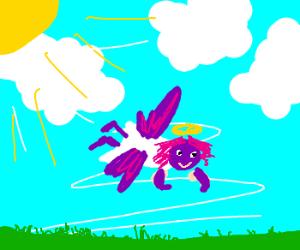purple headed angel eyeing up grass