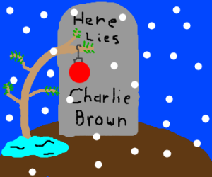 Charlie Brown lies six feet under this Christmas.