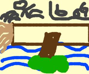Man hops over a floating log to get to the bog