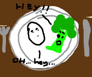 broccoli greets egg on plate; egg looks annoyed