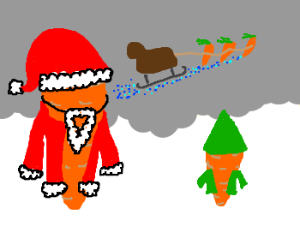 Carrots as Santa and an Elf.