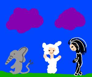 purple cloud/elephant/man in sheep custome/rocker