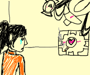 Chell caught companion cube cheating on her