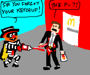 robber squirts buisnessman with ketchup gun