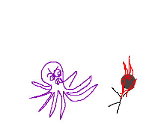 Octopus chases flaming person