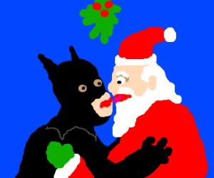 batman and santa kiss under mistletoe