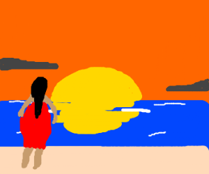 Lady in red chillin' on the beach