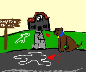 Blue dog outside a creepy house
