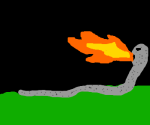 grey snake thing that breathes fire