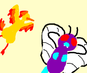 Butterfree is chased by Moltres