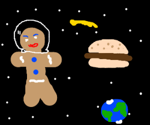 Gingerbreadman and burger in space